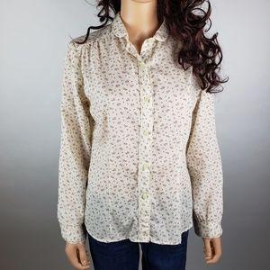 Vintage Fritzi Ivory Floral Lace Button Down Shirt